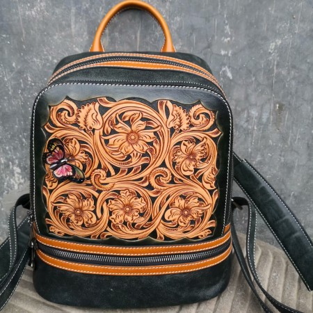 Handmade leathercraft bag, backpack, shoulder bag, women bag, hand sewing bags, Sheridan carving bag 04123