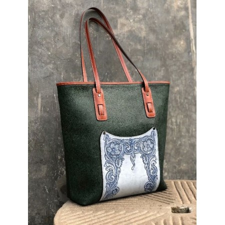 Hand sewing bag, tote bag, women bag, leather carving flora, handbag, 09132