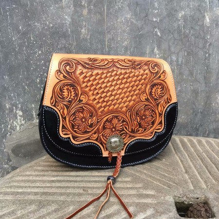 Handmade bag, hand sewing bag, saddle bag, Sheridan style, leathercraft, women shoulder bag, 1025