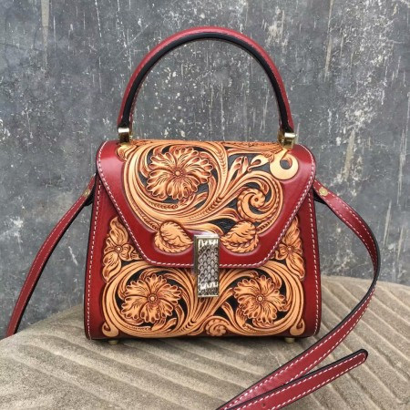 Handmade leathercraft bag, hand bag, hand sewing bag, clutch, shoulder bag, sheridan carving bag 80426