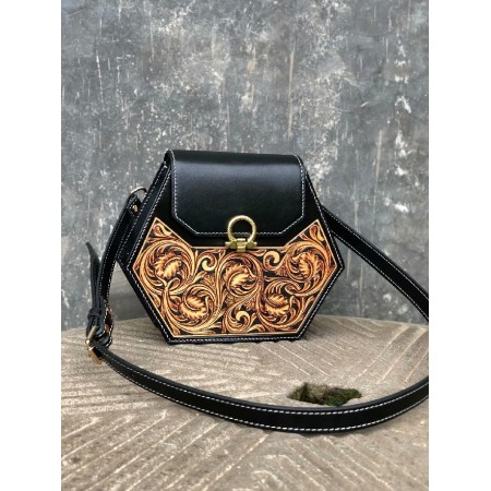 Handmade leathercraft bag, woman bag, shoulder bag, bag, Sheridan carving bag 95113
