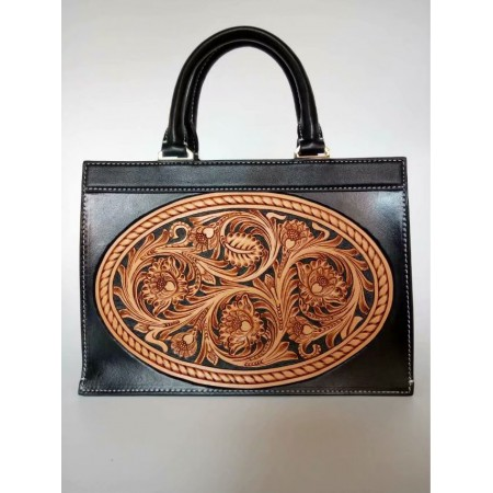 Handmade leathercraft bag, hand bag, hand sewing bag, clutch, shoulder bag, sheridan carving bag L779