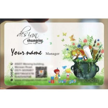 Custom frosted transparent PVC business card online Baby template 036