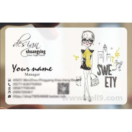 Custom frosted transparent PVC business card online clothes template 043