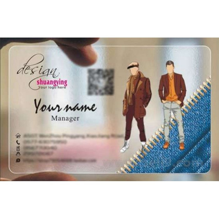 Custom Frosted Transparent Pvc Business Card Online Clothes Template