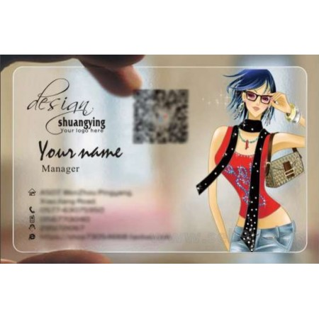 Custom frosted transparent PVC business card online clothes template 054