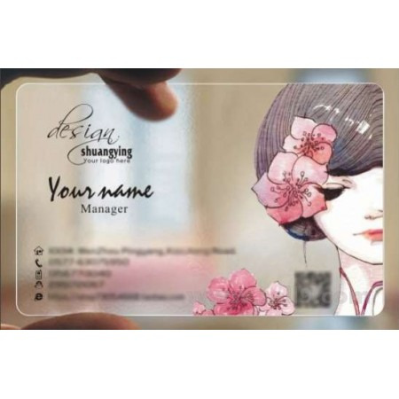 Custom frosted transparent PVC business card online Cosmetic template 079