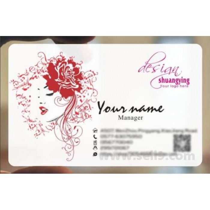 Custom frosted transparent PVC business card online cosmetic template