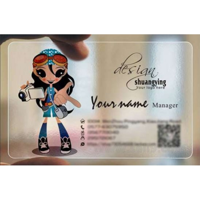 Custom frosted transparent PVC business card online digital device template 053