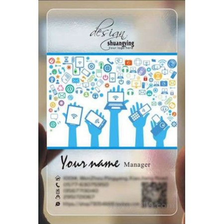 Custom frosted transparent PVC business card online digital device template 009