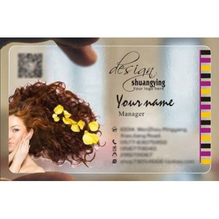 Custom frosted transparent PVC business card online Hairdressing template 018