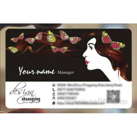 Custom frosted transparent PVC business card online Hairdressing template 058