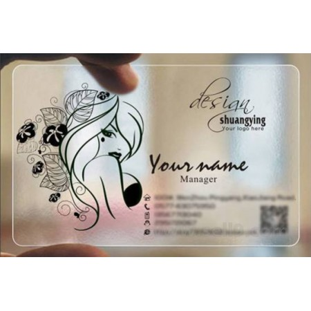 Custom frosted transparent PVC business card online Hairdressing template 031