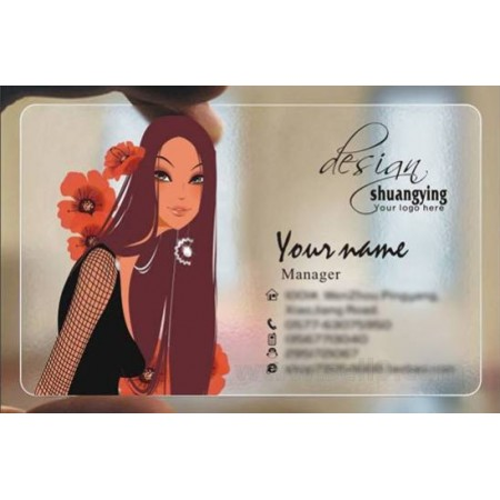 Custom frosted transparent PVC business card online Hairdressing template 059