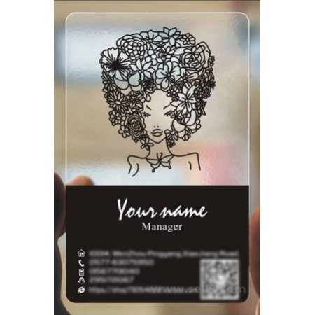 Custom frosted transparent PVC business card online Hairdressing template 012