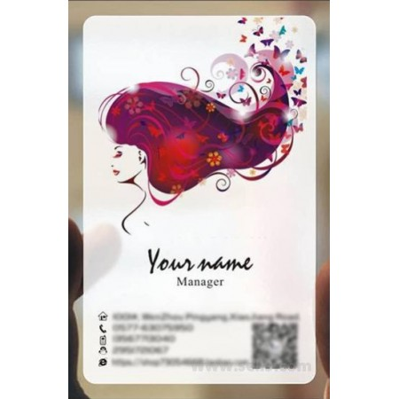 Custom frosted transparent PVC business card online Hairdressing template 009