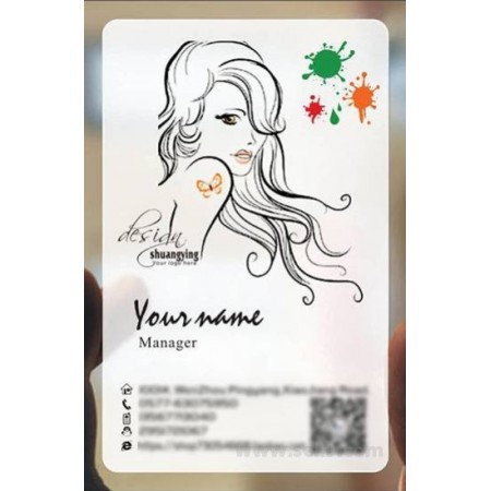 Custom frosted transparent PVC business card online Hairdressing template 011