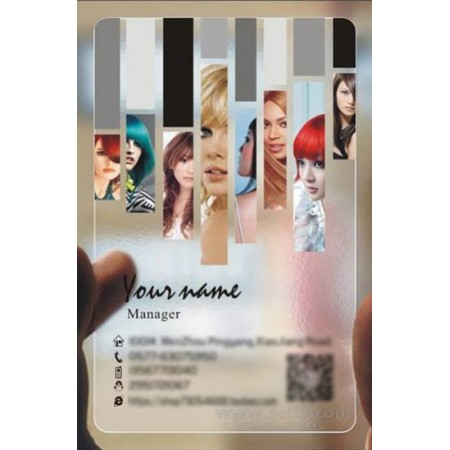 Custom frosted transparent PVC business card online Hairdressing template 013