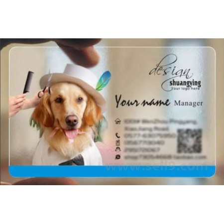 Custom frosted transparent PVC business card online pet template 008