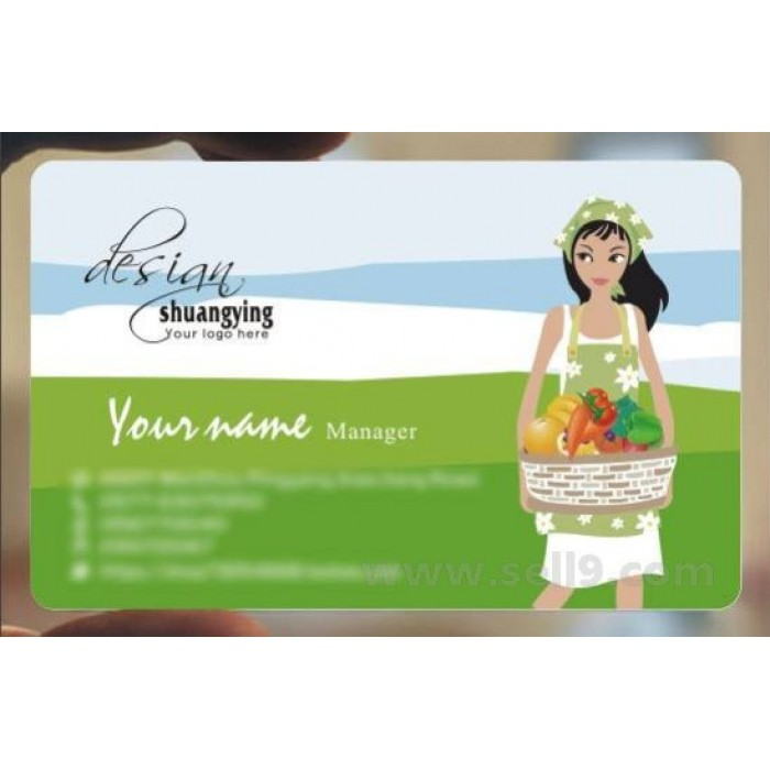 Custom frosted transparent PVC business card online restaurant and food template 096