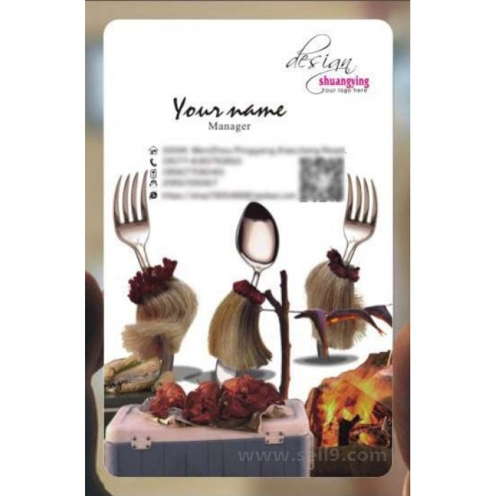 Custom frosted transparent PVC business card online restaurant and food  template 136