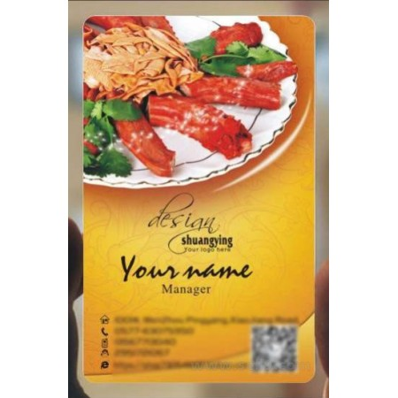 Custom frosted transparent PVC business card online restaurant and food template 132