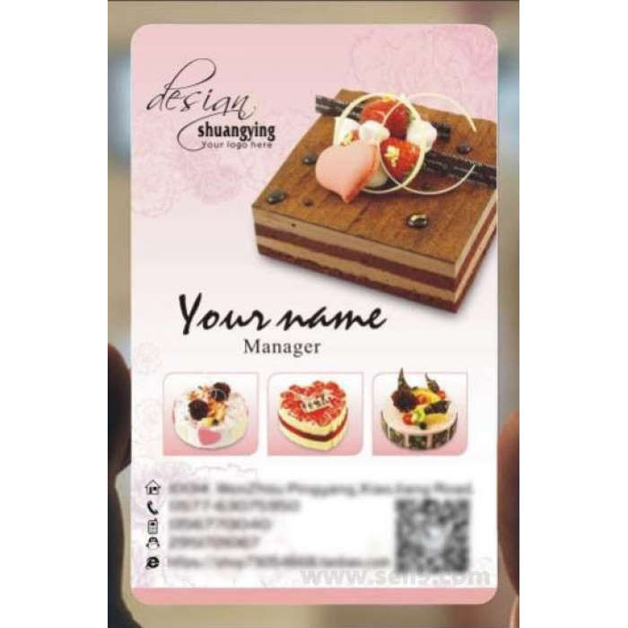 Custom frosted transparent PVC business card online restaurant and food template 151