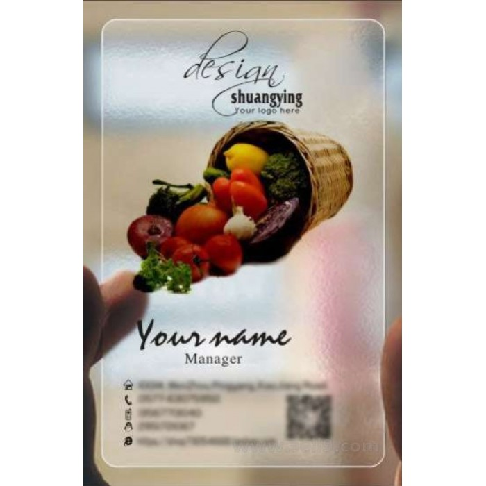 Custom frosted transparent PVC business card online restaurant and ...