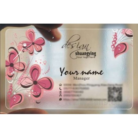 Custom frosted transparent PVC business card online Wedding template 032