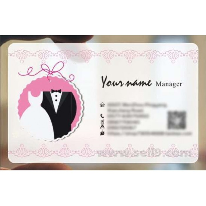 Custom Frosted Transparent Pvc Business Card Online Wedding Template