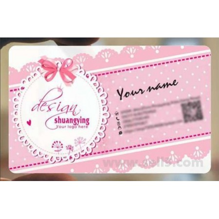 Custom frosted transparent PVC business card online Wedding template 048