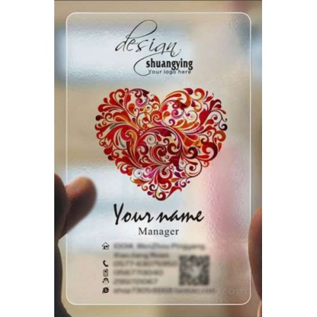 Custom frosted transparent PVC business card online Wedding template 002