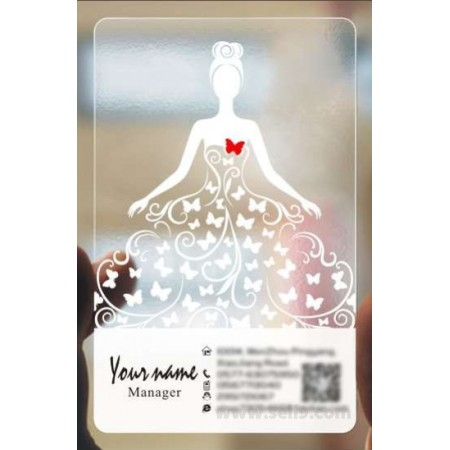 Custom frosted transparent PVC business card online Wedding template 009