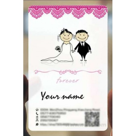 Custom frosted transparent PVC business card online Wedding template 017