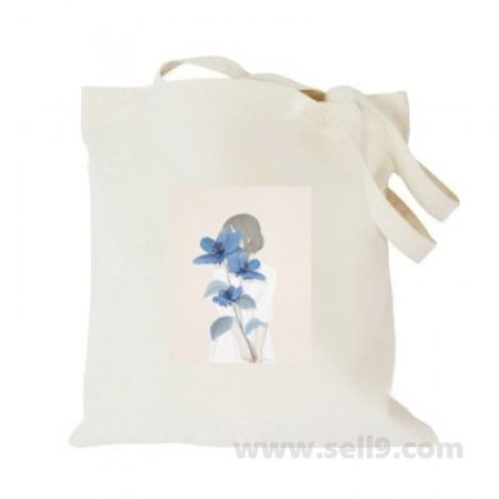 Design Your Own BAG Customized Tote - Add your Picture Photo Text Print  - Blue flower