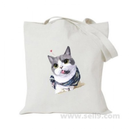 Design Your Own BAG Customized Tote - Add your Picture Photo Text Print  - Lovely cat