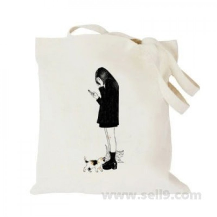 Design Your Own BAG Customized Tote - Add your Picture Photo Text Print  - Girl with phone