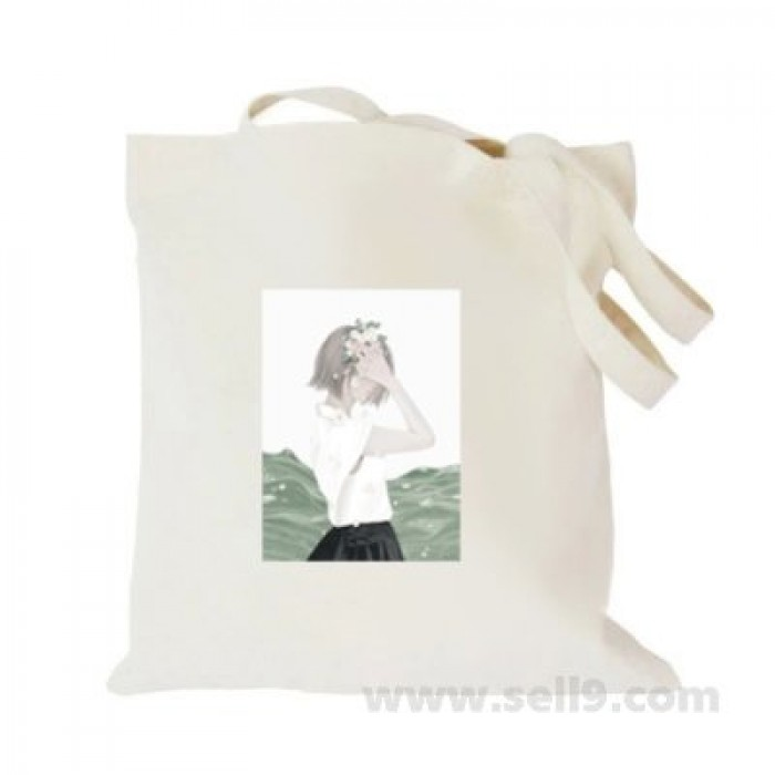 Design Your Own BAG Customized Tote - Add your Picture Photo Text Print  - Girl with wreath