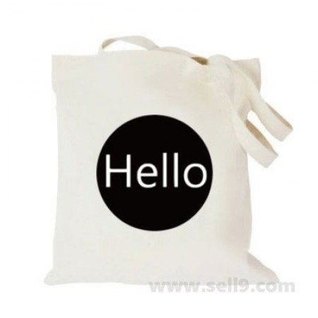 Design Your Own BAG Customized Tote - Add your Picture Photo Text Print  - Hello in black