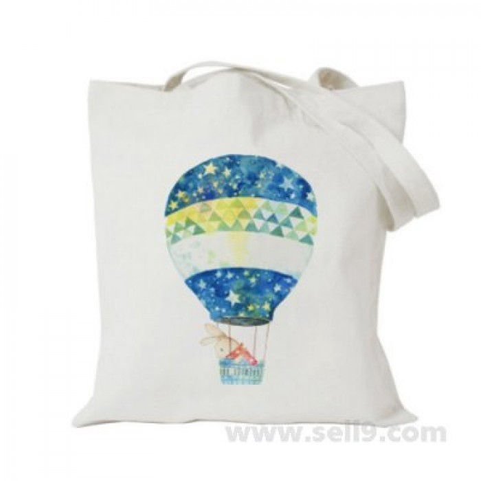 Design Your Own BAG Customized Tote - Add your Picture Photo Text Print  - Rabbit in blue balloon