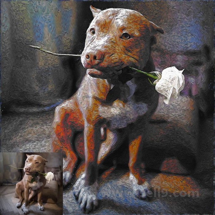 Custom ball pen style pet portrait from photo Digital Art or Oil Painting on Canvas