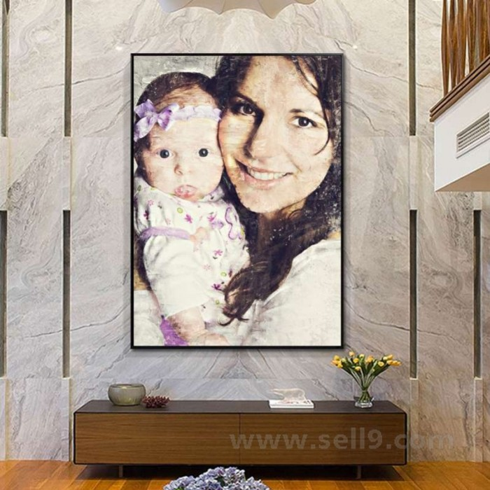 Custom digital oil painting portrait from photo on canvas and sketch papers