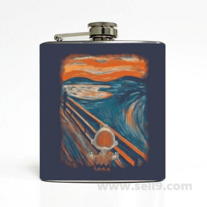 Printed Flask 6 oz Stainless steel Liquor Hip Flask Gift idea F-071