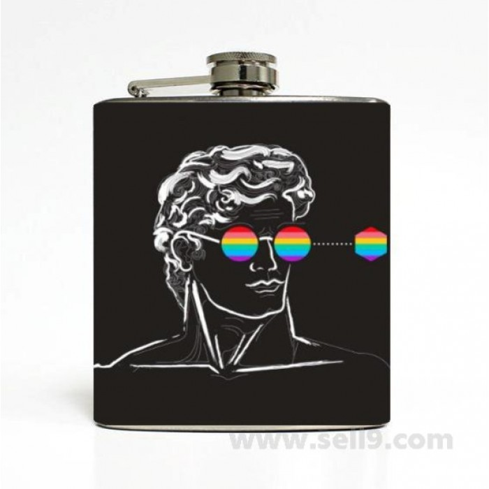 Printed Flask 6 oz Stainless steel Liquor Hip Flask Gift idea F-167