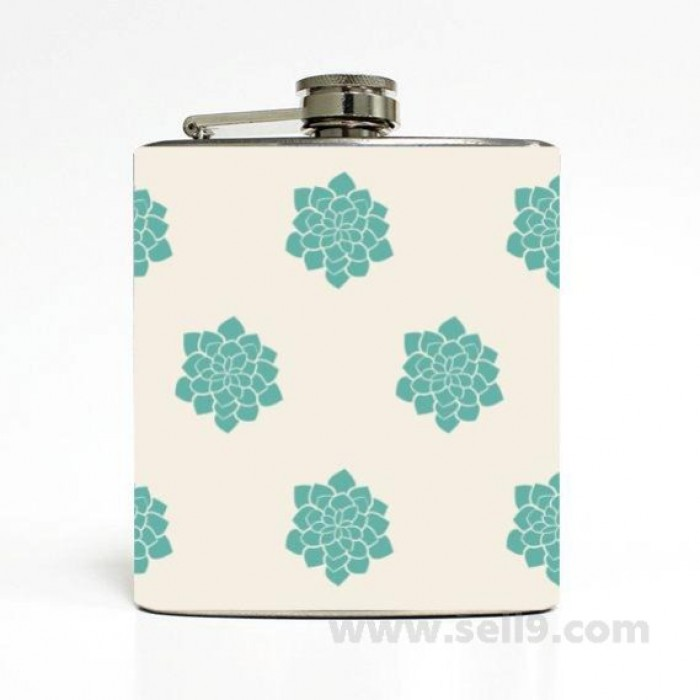 Printed Flask 6 oz Stainless steel Liquor Hip Flask Gift idea F-263