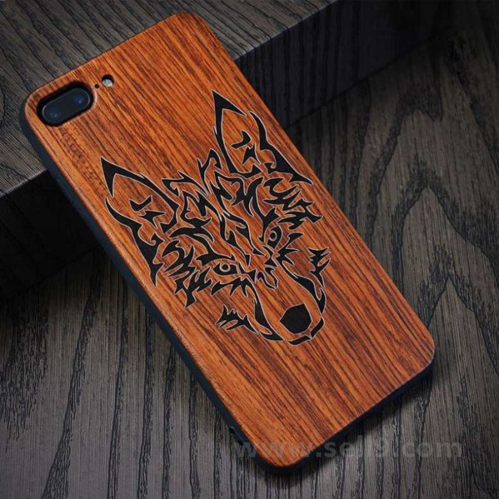 Genuine wood Wolf iPhone 7 plus 8 plus case in store