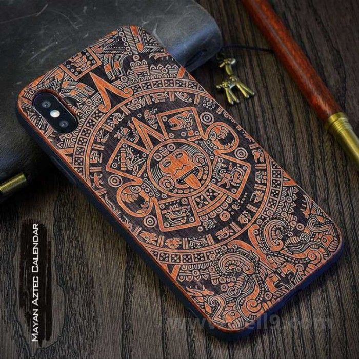 Genuine wood Mayan Aztec Calendar iPhone X case in store