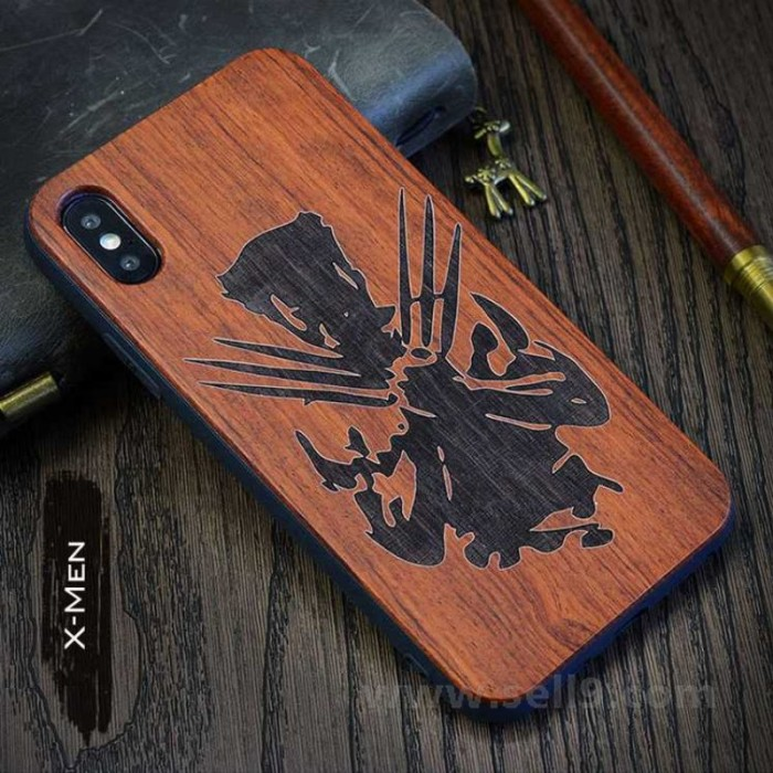 new style 69459 84326 Genuine wood X-men iPhone X case in store