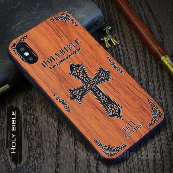 Genuine wood Holy bible iPhone X case in store