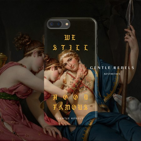 GENTLE REBELS oil painting mobile phone shell iphone Xsmax gothic spoof tattoo couple xr apple 8p